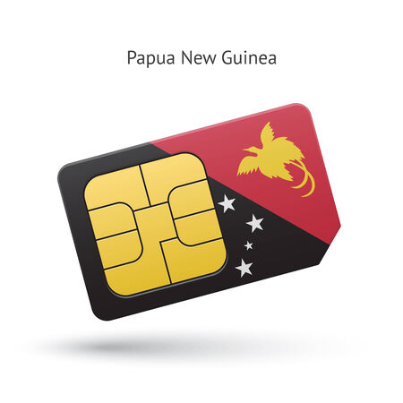 Papua New Guinea mobile phone sim card with flag. Vector illustration. Vector