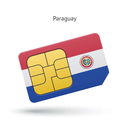 simcard: Paraguay mobile phone sim card with flag. Vector illustration.