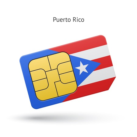 sim: Puerto Rico mobile phone sim card with flag. Vector illustration.