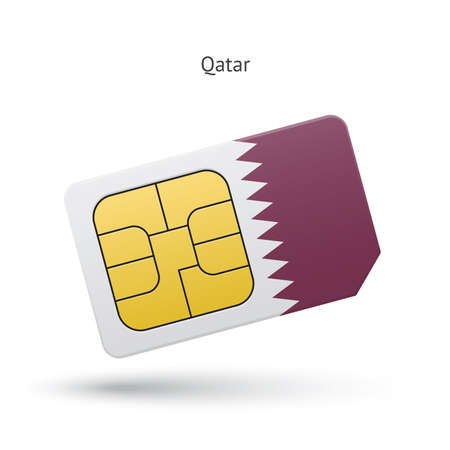 Qatar mobile phone sim card with flag. Vector illustration. Vector