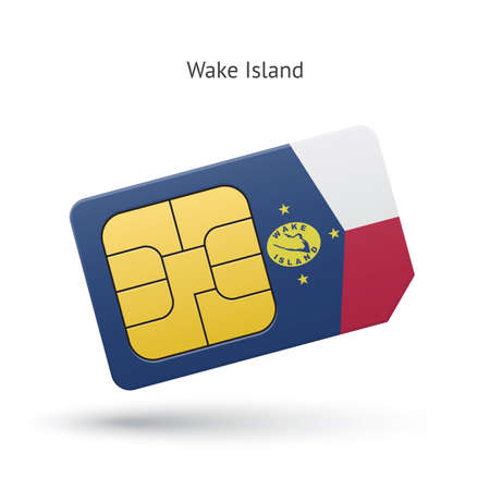 simcard: Wake Island mobile phone sim card with flag. Vector illustration. Illustration