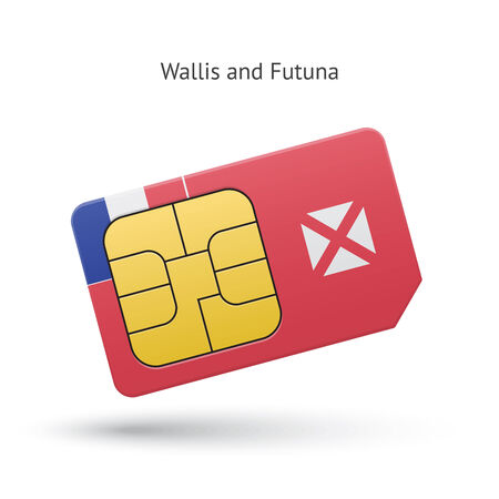 Wallis and Futuna mobile phone sim card with flag. Vector illustration. Vector