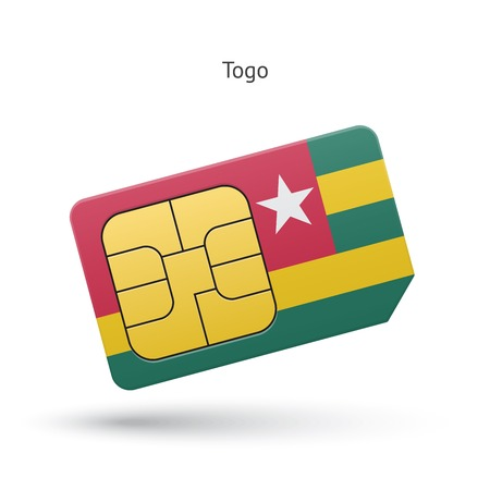 togo: Togo mobile phone sim card with flag. Vector illustration.