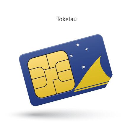 tokelau: Tokelau mobile phone sim card with flag. Vector illustration. Illustration