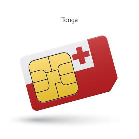 simcard: Tonga mobile phone sim card with flag. Vector illustration.