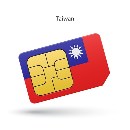 Taiwan mobile phone sim card with flag. Vector illustration. Vector