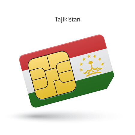 Tajikistan mobile phone sim card with flag. Vector illustration. Vector