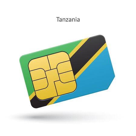 Tanzania mobile phone sim card with flag. Vector illustration. Vector