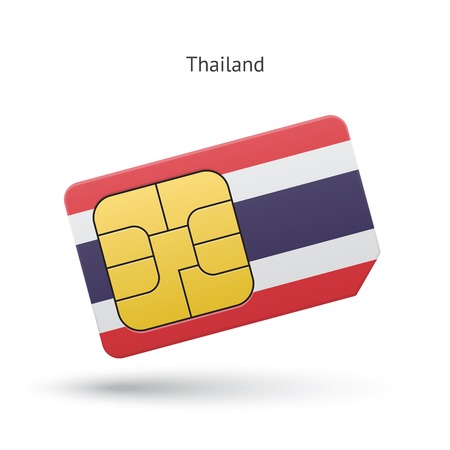 sim: Thailand mobile phone sim card with flag. Vector illustration. Illustration