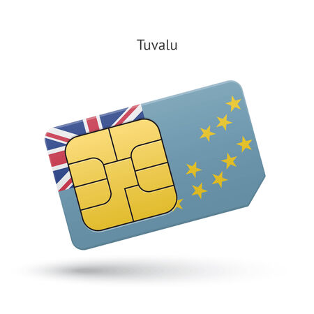 Tuvalu mobile phone sim card with flag. Vector illustration. Vector