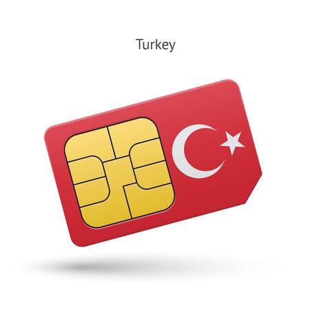 Turkey mobile phone sim card with flag. Vector illustration.