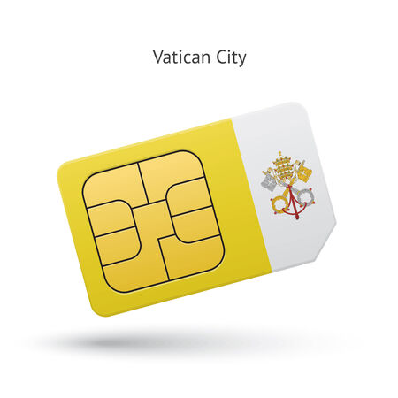 Vatican City mobile phone sim card with flag. Vector illustration. Vector