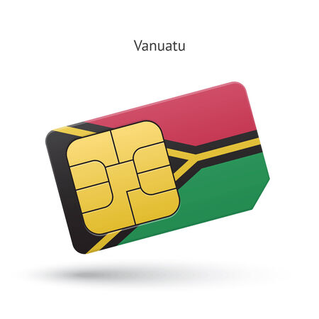 Vanuatu mobile phone sim card with flag. Vector illustration. Vector