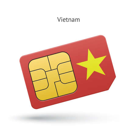 Vietnam mobile phone sim card with flag. Vector illustration. Vector