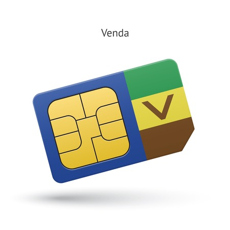 Venda mobile phone sim card with flag. Vector illustration.