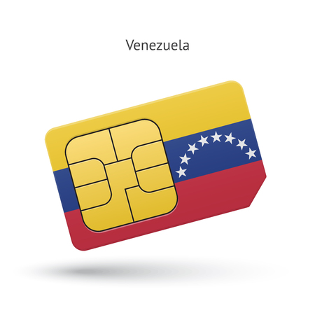 Venezuela mobile phone sim card with flag. Vector illustration. Vector