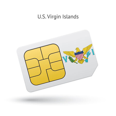 virgin islands: US Virgin Islands mobile phone sim card with flag. Vector illustration.