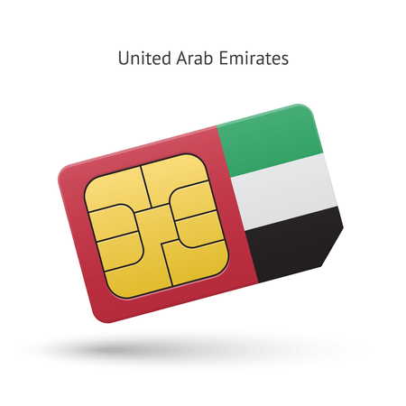 simcard: United Arab Emirates mobile phone sim card with flag. Vector illustration.