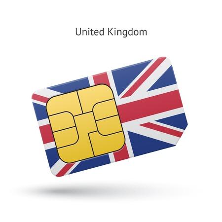 United Kingdom mobile phone sim card with flag. Vector illustration. Illustration