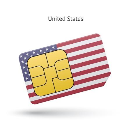 Verenigde Staten mobiele telefoon sim kaart met vlag. Vector illustratie.