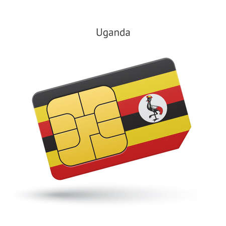 Uganda mobile phone sim card with flag. Vector illustration. Vector