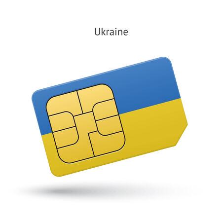 simcard: Ukraine mobile phone sim card with flag. Vector illustration. Illustration