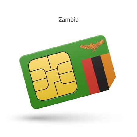 Zambia mobile phone sim card with flag. Vector illustration. Vector