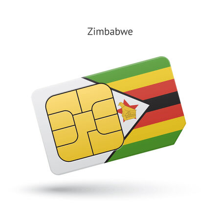 Zimbabwe mobile phone sim card with flag. Vector illustration. Vector