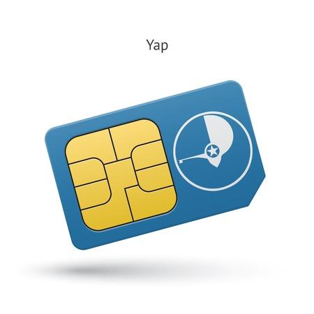 Yap mobile phone sim card with flag. Vector illustration. Illustration