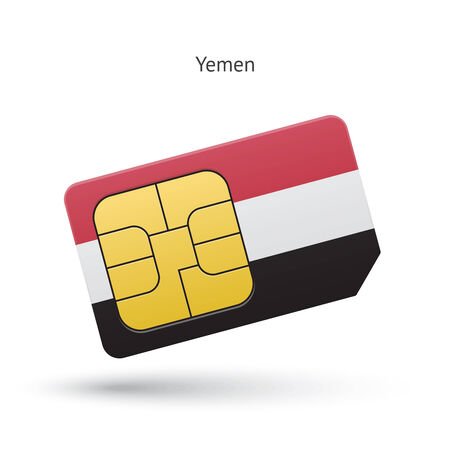 Yemen mobile phone sim card with flag. Vector illustration. Vector