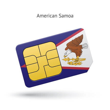 American Samoa mobile phone sim card with flag. Vector illustration. Vector