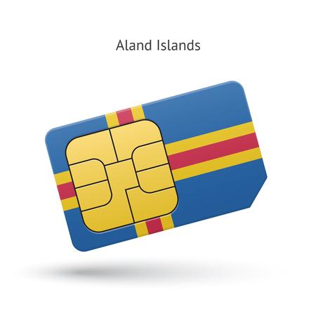 simcard: Aland Islands mobile phone sim card with flag. Vector illustration.