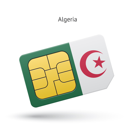 Algeria mobile phone sim card with flag. Vector illustration. Illustration