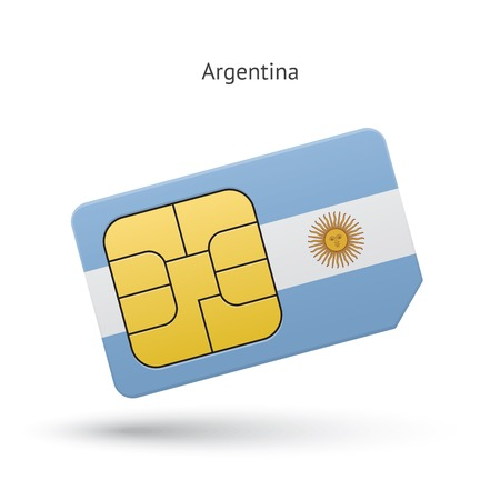 simcard: Argentina mobile phone sim card with flag. Vector illustration.
