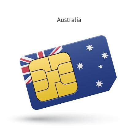 simcard: Australia mobile phone sim card with flag. Vector illustration.