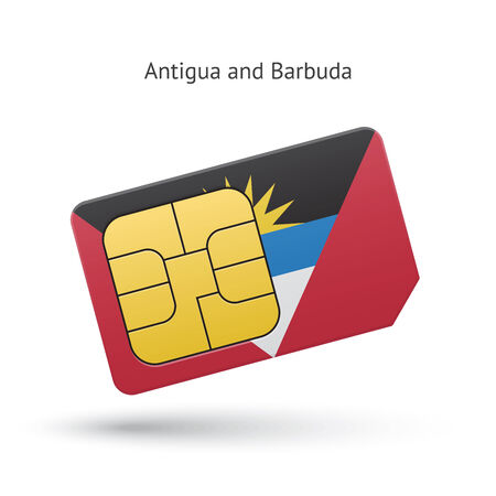 Antigua and Barbuda phone sim card with flag. Vector illustration. Vector