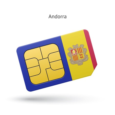 simcard: Andorra mobile phone sim card with flag. Vector illustration.