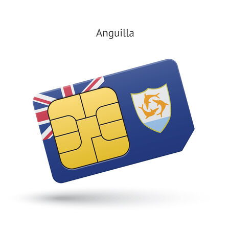 simcard: Anguilla mobile phone sim card with flag. Vector illustration.