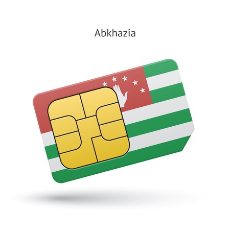 Abkhazia mobile phone sim card with flag. Vector illustration. Vector