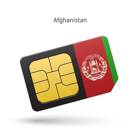 simcard: Afghanistan mobile phone sim card with flag. Vector illustration. Illustration