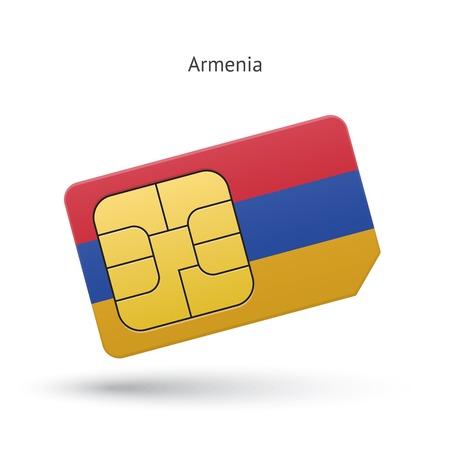 Armenia mobile phone sim card with flag. Vector illustration.