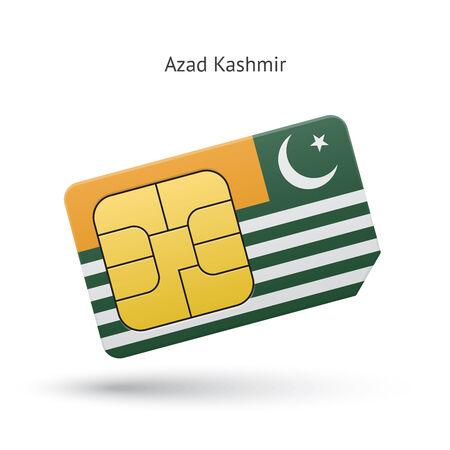 simcard: Azad Kashmir mobile phone sim card with flag. Vector illustration.