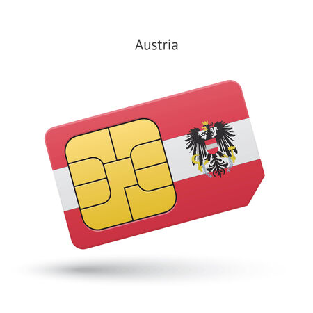 Austria mobile phone sim card with flag. Vector illustration. Vector