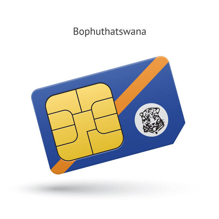 Bophuthatswana mobile phone sim card with flag. Vector illustration. Vector