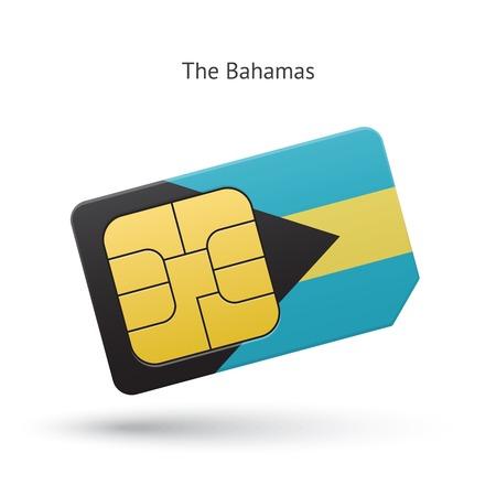 simcard: Bahamas mobile phone sim card with flag. Vector illustration. Illustration