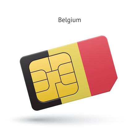 Belgium mobile phone sim card with flag. Vector illustration. Vector