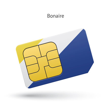 Bonaire mobile phone sim card with flag. Vector illustration. Vector