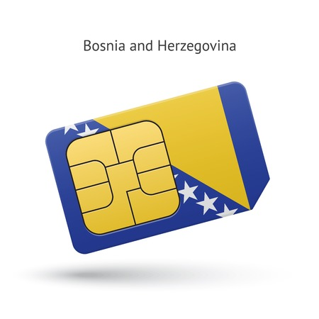 Bosnia and Herzegovina mobile phone sim card with flag. Vector illustration. Vector