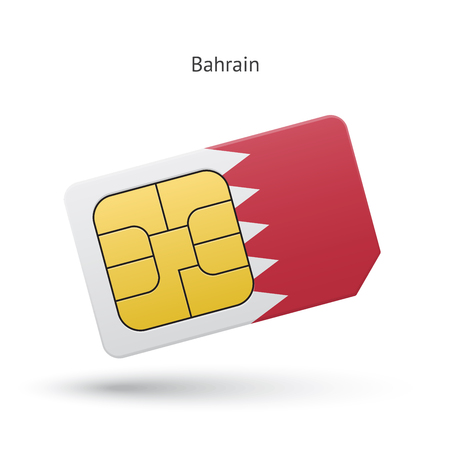 Bahrain mobile phone sim card with flag. Vector illustration. Vector