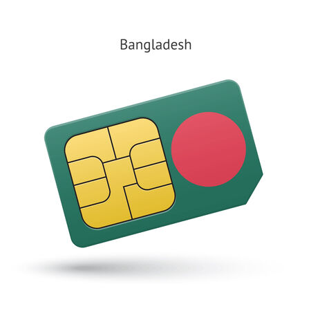 Bangladesh mobile phone sim card with flag. Vector illustration.